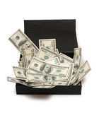 Dollars. In black box, money Royalty Free Stock Images