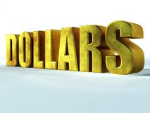Dollars. Close-up of the gold letters Royalty Free Stock Image