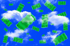 Dollars. Are flying on the sky Royalty Free Stock Photo