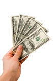 Dollars. Five hundred dollars in the hand isolated over white Royalty Free Stock Image