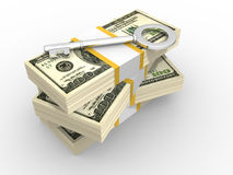 Dollars. Stacks of dollars and key to success. 3d render illustration stock illustration