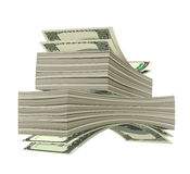 Dollars. Heap of dollars isolated on white background Royalty Free Stock Images