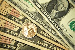 Dollars. Official currency in USA stock images