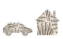 Dollars. Automobile and home of very many  mass currency note  dollars, horizontal photo Stock Images
