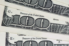 Dollars. Banknotes of one hundred United States dollars stock photo