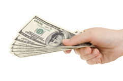 Dollars. Cash  currency note dollar in hand, on white background, isolated Stock Image