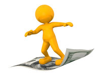 Dollars. 3d people - man, person flying on U.S. dollars Royalty Free Stock Photography