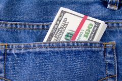 Dollars. In a pocket of jeans Royalty Free Stock Image