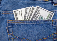 Dollars. In a pocket of jeans Royalty Free Stock Photography