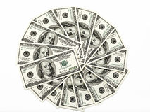 Dollars. 100 dollars money bills wheel Royalty Free Stock Images