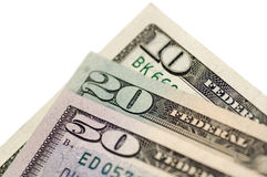 Dollars. Isolated cash banknotes of dollars Royalty Free Stock Photography