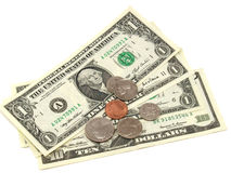 Dollars. Denomination and coin dollars isolated on a white background Stock Photography