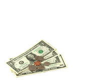 Dollars. Denomination and coin dollars isolated on a white background Royalty Free Stock Photography