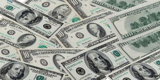 Dollars. American dollar banknotes on isolated background royalty free stock images