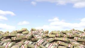 Dollars against the sky. easy Money.  Stock Photos