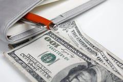 Dollars américains d'argent avec le livre Photo libre de droits