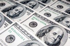 Dollars américains dans les dénominations de 100 Photographie stock