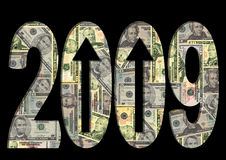 Dollars américains de textes 2009 Photographie stock
