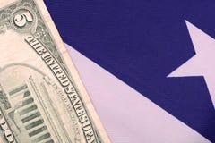 Dollars on american flag. Close up dollars on american flag Stock Photo