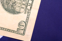 Dollars on american flag. Close up Royalty Free Stock Photo