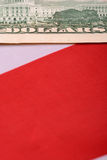 Dollars on american flag. Close up Stock Photos