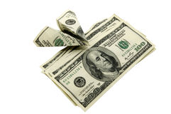 Dollars And A Plane Royalty Free Stock Images