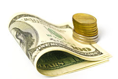 Dollars And Coins Royalty Free Stock Image