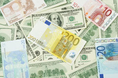 Dollars And Euro Stock Photography