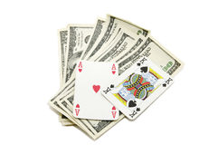 Dollars And Playing Cards Royalty Free Stock Photos