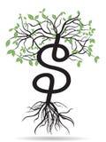 Dollars arbre-croissants d'argent Image libre de droits