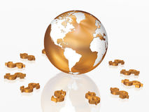 Dollars around the World. 3d golden dollars signs around the golden Globe Stock Images