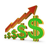 Dollars and arrow Stock Photography