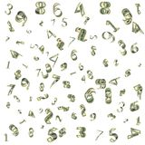 Dollars as figures fall from the sky. On white background Stock Photos