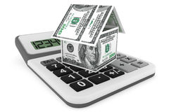 Dollars as House and calculator Stock Image