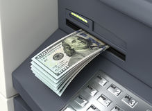 Dollars from ATM Royalty Free Stock Image