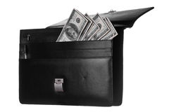 Dollars in attache. Opened case with banknotes in it royalty free stock photos