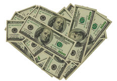 Dollars au coeur de forme photo libre de droits