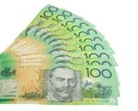 Dollars australiens d'isolement sur le blanc Photographie stock libre de droits