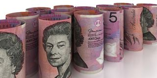 5 dollars australiens de Rolls Photos stock