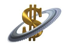 100 dollars autour de symbole dollar d'or illustration 3D Photos stock