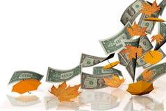 Dollars autumn falling leaves market autmn background. Dollars autumn falling leaves market in autmn background stock photos