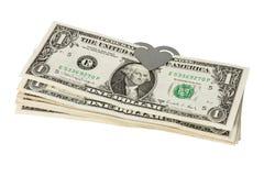 Dollars avec un trombone sous forme de coeur Photo libre de droits