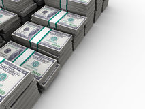 Dollars background. Abstract 3d illustration of many dollar stacks background vector illustration