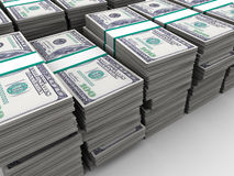 Dollars background. Abstract 3d illustration of many dollars background Stock Photography