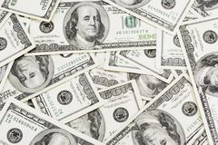 Dollars Background. Lots of real 100 greenbacks for background Stock Image