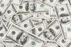 Dollars Background. Lots of real 100 greenbacks for background Royalty Free Stock Photos