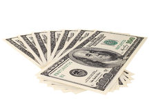 Dollars. Background of many mass currency note  US dollars, close up on white background, isolated Royalty Free Stock Image