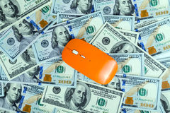 Dollars background mouse computer Royalty Free Stock Photography
