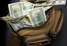 Dollars in bag Royalty Free Stock Images