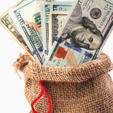 Dollars in the bag as a symbol of economic growth and success Stock Photos